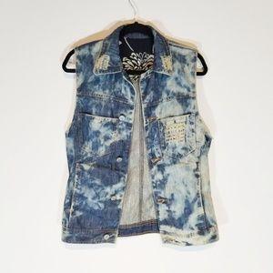 Distressed acid wash denim vest